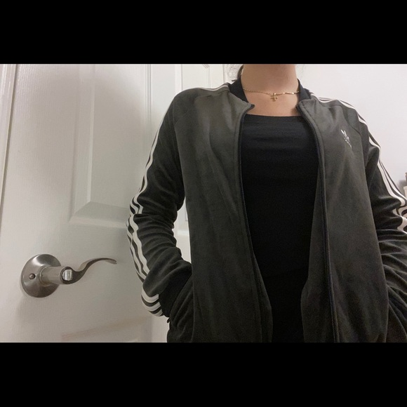 adidas Jackets & Blazers - Black/gray Adidas velvet jacket 3 stripes.